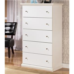 Casual Cottage 5 Drawer Chest with Pewter Color Accents