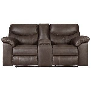 Casual Double Reclining Power Loveseat with Center Console