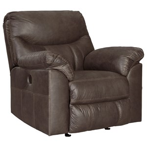 Casual Power Rocker Recliner with Pillow Arms