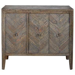 Rustic Accent Cabinet with Herringbone Pattern