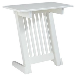 Contemporary Chair Side End Table with Slanted Base and White Finish