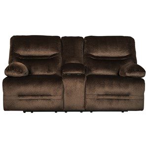 Contemporary Double Reclining Power Loveseat w/ Console
