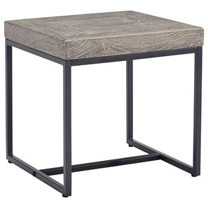 Square End Table with White Waxed Gray Finish
