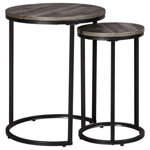 2-Piece Round Nesting Black/Gray Accent Table Set