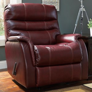 Contemporary Leather Match Rocker Recliner