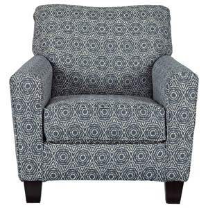 Accent Chair with Blue Medallion Fabric