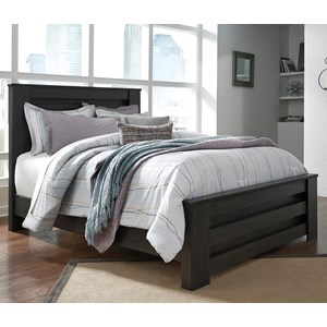 Queen Panel Bed in Charcoal Finish