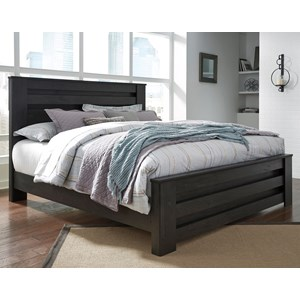 King Panel Bed in Charcoal Finish