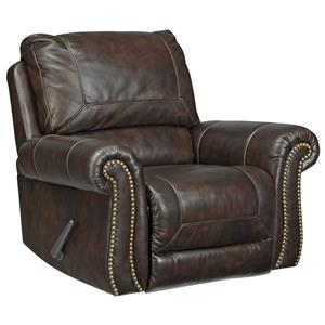 Traditional Leather Match Rocker Recliner with Rolled Arms & Nailhead Trim