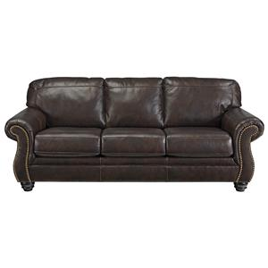 Traditional Leather Match Queen Sofa Sleeper with Rolled Arms & Nailhead Trim