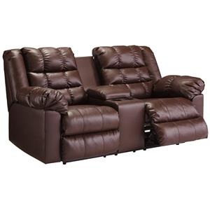 Signature Design by Ashley Brolayne DuraBlend® Double Reclining Loveseat w/ Console