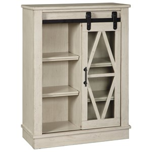 Accent Cabinet with Glass Barn Door