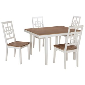 Contemporary White/Light Wash 5-Piece Rectangular Dining Table Set