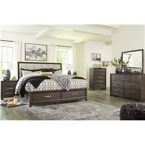 Queen Upholstered Panel Bed with Storage Footboard, Dresser, Mirror and Nightstand Package