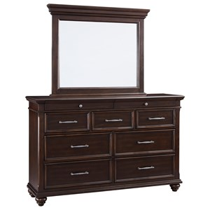 Traditional 9 Drawer Dresser and Mirror Set
