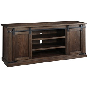 Mango Veneer Extra Large TV Stand with Barn Doors