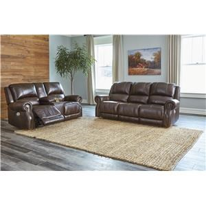 Chocolate Power Recliner Sofa and Power Recliner Loveseat w/ Console Set