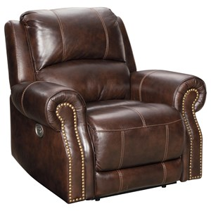 Traditional Power Recliner with Nailhead Trim and USB Port