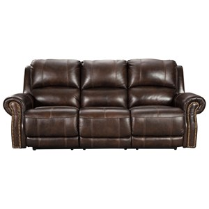 Traditional Power Reclining Sofa with USB Port and Nailhead Trim