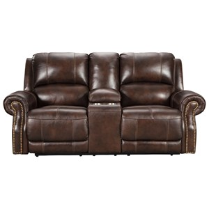 Traditional Power Reclining Console Loveseat with USB Port