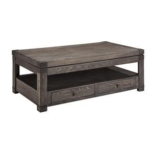 Rectangular Lift Top Cocktail Table, Square Trunk End Table and Rectangular End Table Set
