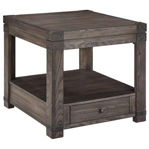 Elm Veneer Rectangular End Table in Grayish Brown Finish