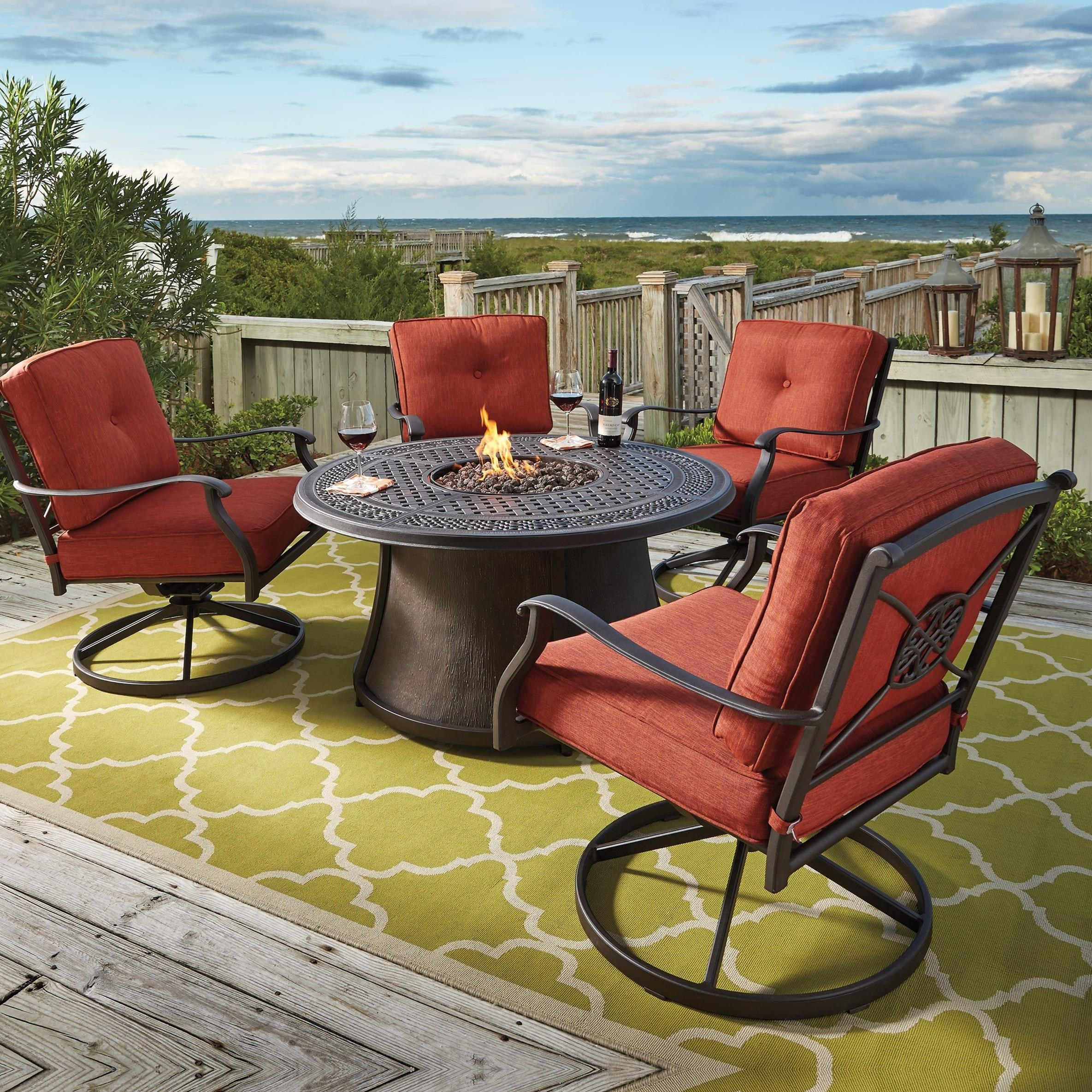 Burnella 5-Piece Outdoor Fire Pit Set by Signature Design by Ashley at Lapeer Furniture & Mattress Center