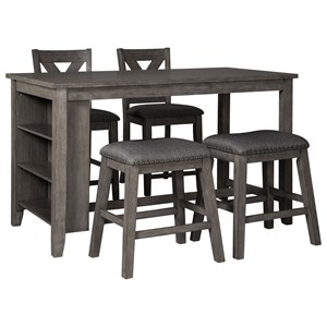 Five Piece Kitchen Island & Chair Set with Adjustable Storage