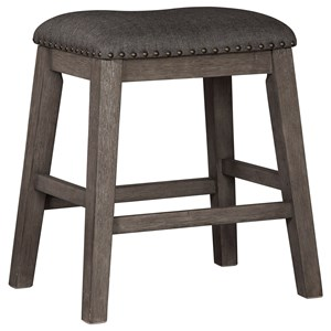 Relaxed Vintage Upholstered Counter Stool with Nailhead Trim