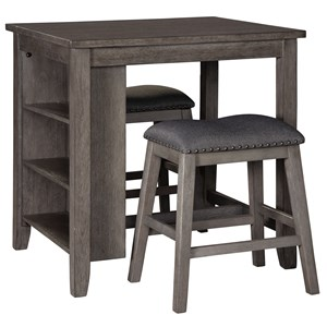 3-Piece Rectangular Counter Table Set with Storage