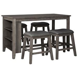 Five Piece Kitchen Island & Chair Set with Adjustable Storage