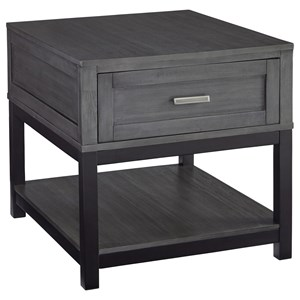 Rectangular End Table in Gray/Black Finish