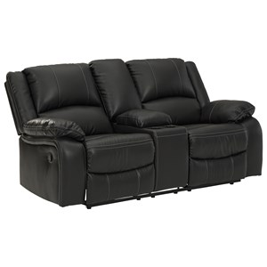 Faux Leather Double Rec Loveseat w/ Console