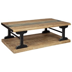 Industrial Live Edge Wood/Glass Rectangular Cocktail Table with Metal Supports and Casters