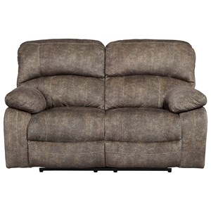 Casual Power Reclining Loveseat with Adjustable Headrest