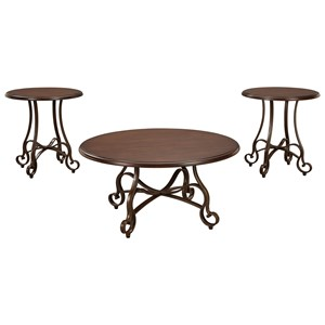 Transitional Cherry Finish Wood/Metal 3-Piece Occasional Table Set