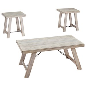 Farmhouse 3-Piece Occasional Table Set in Whitewash Finish