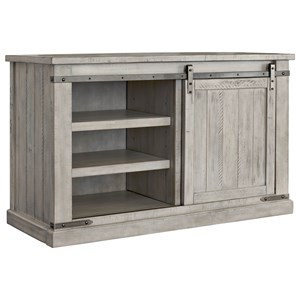 Rustic White Medium TV Stand with Barn Door Hardware