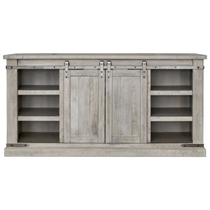 Rustic White Large TV Stand with Barn Door Hardware