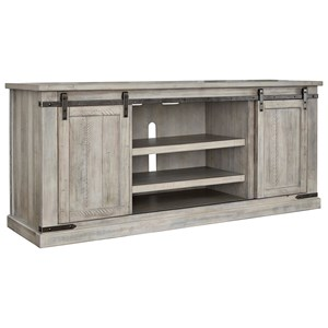 Rustic White Extra Large TV Stand with Barn Door Hardware