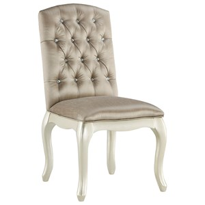 Upholstered Chair/Vanity Chair with Gray Velvet Upholstery