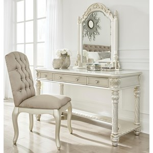 Traditional Vanity & Mirror Set w/ Upholstered Chair