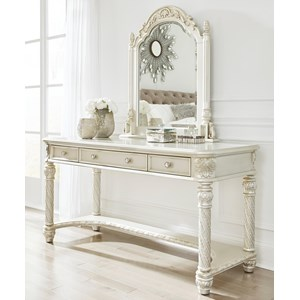 Traditional Vanity & Mirror in Silver Finish