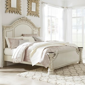 Traditional Queen Panel Bed with Nautral Marble Accents