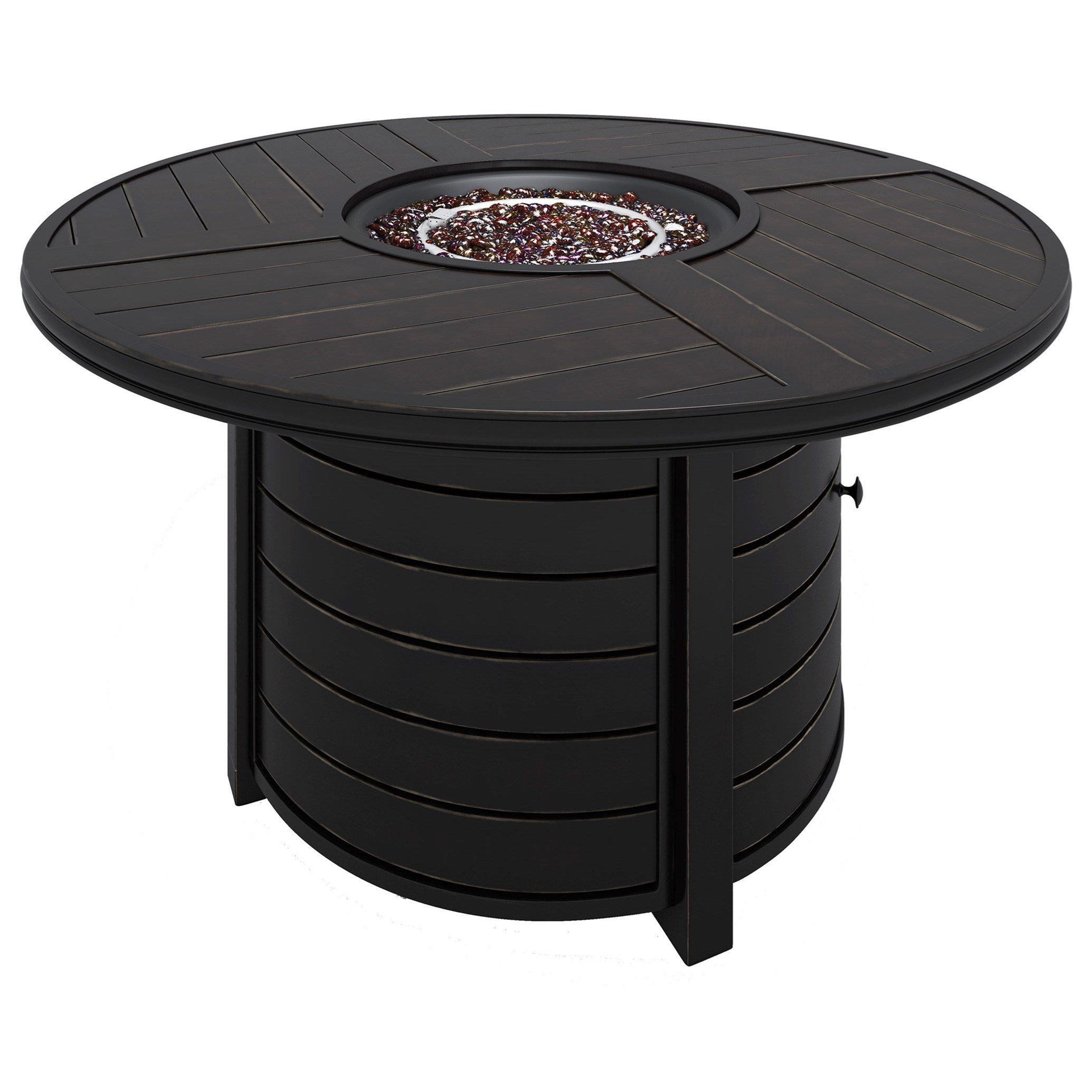 Castle Island Round Fire Pit Table by Signature at Walker's Furniture