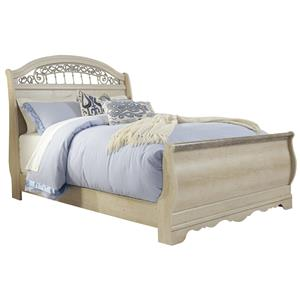 Traditional Queen Sleigh Bed with Metal Fretwork