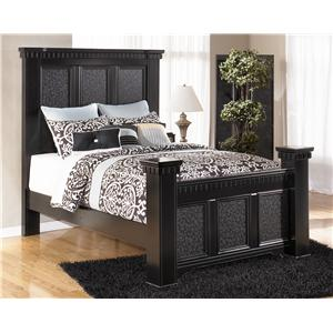 Signature Design By Ashley Cavallino King Mansion Poster Bed With Storage Footboard Regency
