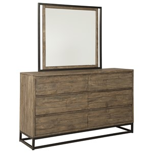 Contemporary Six Drawer Dresser and Mirror Set
