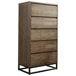 Contemporary Five Drawer Chest with Metal Base