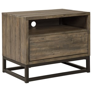 Contemporary One Drawer Night Stand with Cord Management